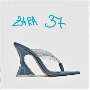 Zara 2021 blue vinyl sandals trompet heel 39 flip flop quadratic super modern!