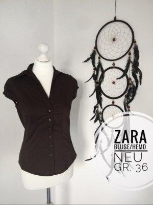 Zara 36 Bluse Hemd neuwertig Basic Oberteil braun schick büro blogger