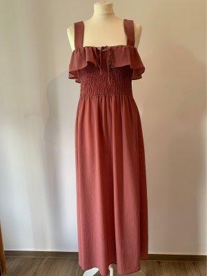 Zara Abito midi color oro rosa-rosa
