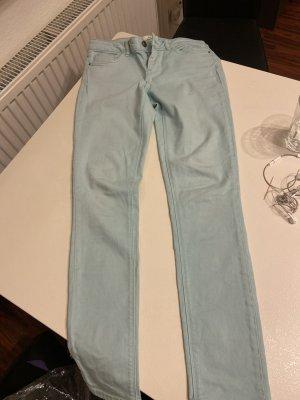 Zara Jeans slim bleu clair-blanc