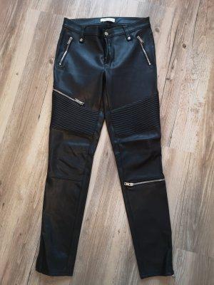 Zara Pantalón de cuero negro Imitación de cuero