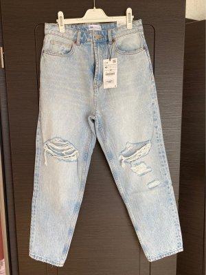 Zara Jeans a vita alta blu pallido