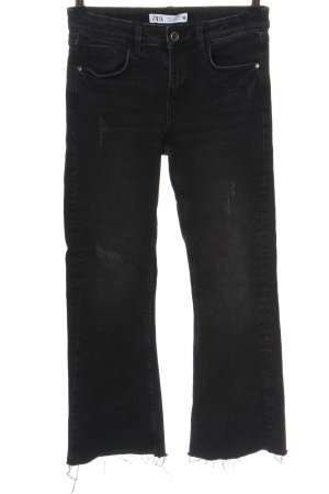 Zara Jeansy 7/8 czarny Melanżowy W stylu casual