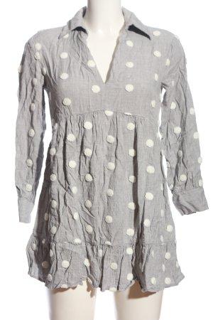 Zara Long-Bluse hellgrau-weiß Casual-Look