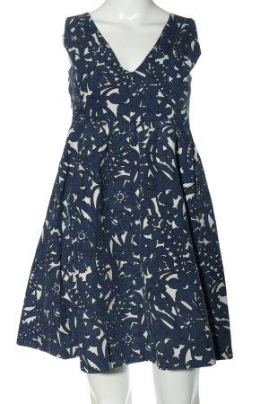Zara A-Linien Kleid blau-weiß Allover-Druck Casual-Look