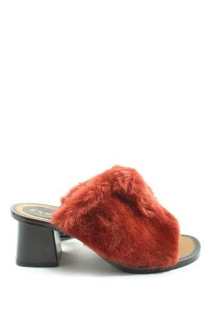 Zara Absatz Pantoletten rot-schwarz Casual-Look