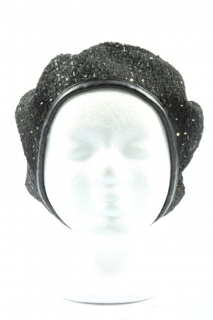 Zara Accesoires Baskenmütze schwarz Webmuster Casual-Look