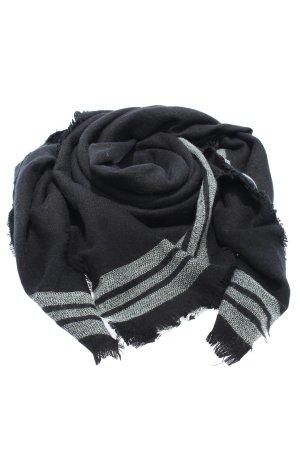 Zara Accesoires Bufanda de flecos negro-blanco estampado a rayas look casual
