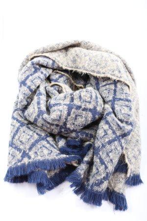 Zara Accesoires Bufanda de flecos azul-blanco Patrón de tejido look casual
