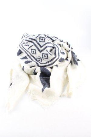 Zara Accesoires Neckerchief natural white-blue graphic pattern casual look