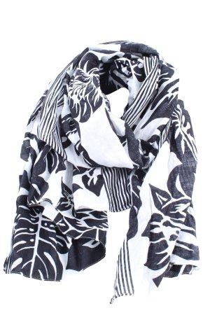 Zara Accesoires Sommerschal weiß-schwarz Blumenmuster Casual-Look