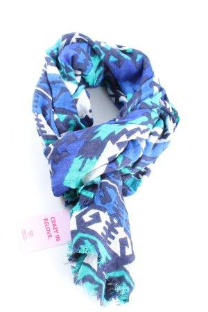 Zara Accesoires Sommerschal blau-weiß grafisches Muster Casual-Look