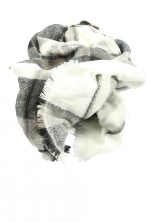 Zara Accesoires Strickschal weiß-schwarz Karomuster Casual-Look