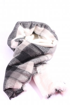 Zara Accesoires Knitted Scarf cream-black check pattern casual look