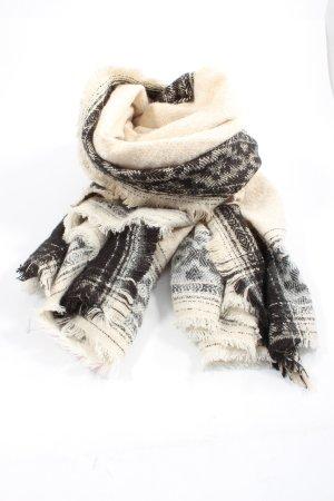 Zara Accesoires Écharpe en tricot blanc cassé-noir motif graphique