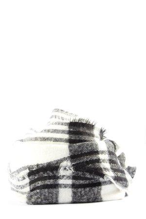 Zara Accesoires Gebreide sjaal zwart-wit geruite print casual uitstraling