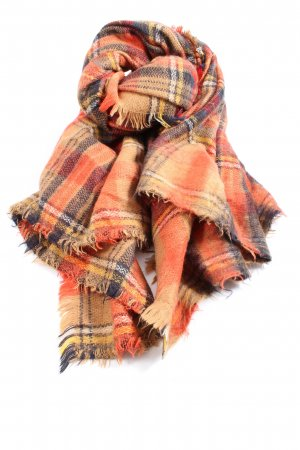 Zara Accesoires Traditional Scarf light orange-blue check pattern casual look