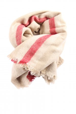 Zara Accesoires Traditional Scarf natural white-red striped pattern casual look