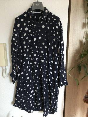Zara Trafaluc Lange blouse donkerblauw-wit Cupro