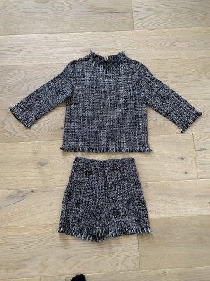 Zara Gebreide twin set zwart-wit