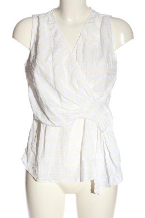 Zara ärmellose Bluse weiß-creme Streifenmuster Casual-Look