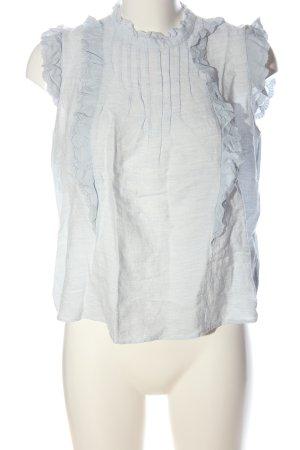 Zara ärmellose Bluse weiß-blau Streifenmuster Casual-Look