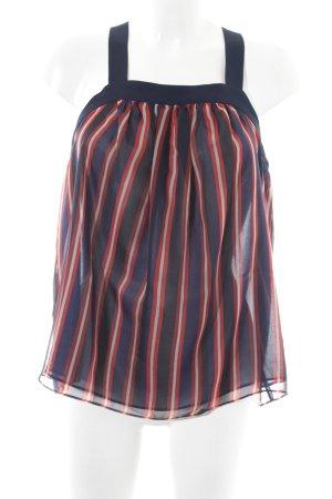 Zara ärmellose Bluse blau-rot Streifenmuster Casual-Look