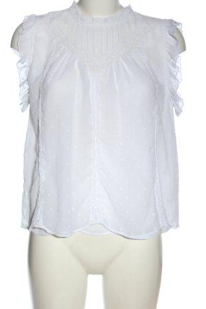 Zara Bluzka bez rękawów biały Na całej powierzchni W stylu biznesowym