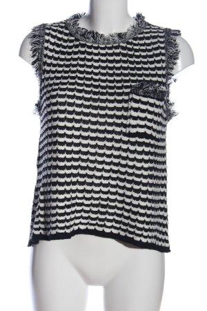 Zara ärmellose Bluse weiß-schwarz Streifenmuster Casual-Look