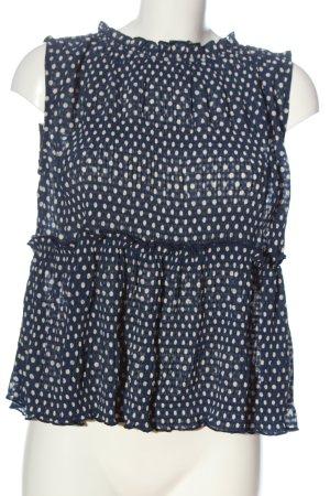 Zara ärmellose Bluse blau-weiß Punktemuster Casual-Look