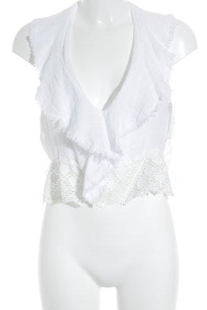 Zara Mouwloze blouse wit straat-mode uitstraling