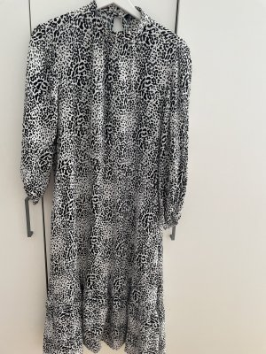 Zara Animal Print Kleid midi schwarz weiß
