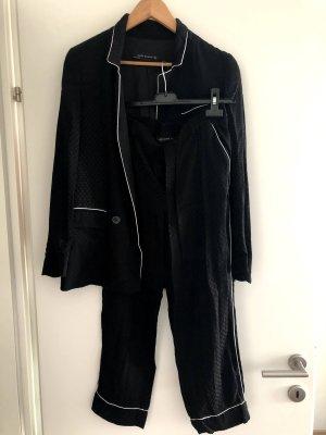 Zara Spodnie garniturowe czarny
