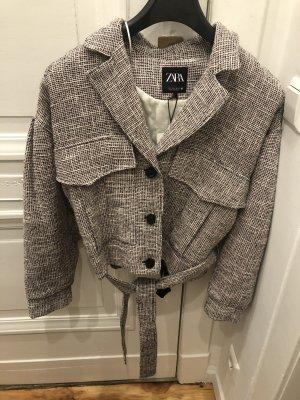 Zara Anzug Blogger Tweed über Hemd Jacke Blazer kariert Business Style cropped kurz