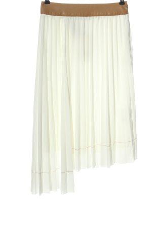 Zara Falda asimétrica blanco-marrón look casual