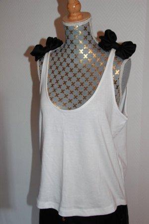 Zara Top met spaghettibandjes wit-zwart Modal