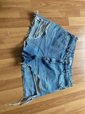 Zara Women Jeans taille haute bleu azur