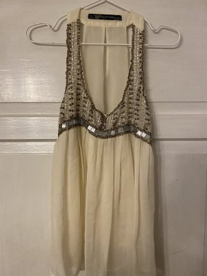 Zara Top in seta bianco sporco-crema