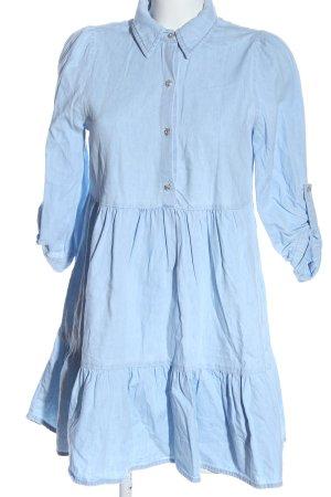 Zara Vestido babydoll azul look casual