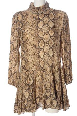 Zara Vestido babydoll crema-marrón estampado repetido sobre toda la superficie