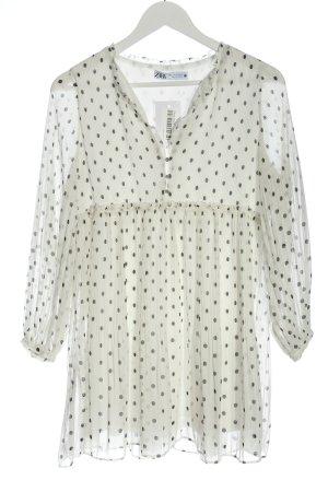 Zara Babydollkleid weiß-schwarz Punktemuster Casual-Look