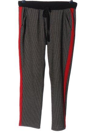 Zara Baggy Pants schwarz-rot Streifenmuster Casual-Look