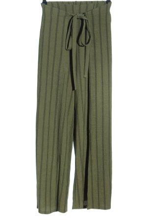 Zara Luźne spodnie khaki-czarny Wzór w paski W stylu casual