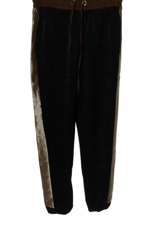 Zara Baggy Pants black-bronze-colored striped pattern casual look