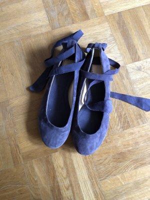 Zara Ballerinas Flats Schnürung Taupe Flieder 38