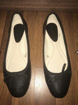 ZARA Ballerinas Leder gr 37 schwarz