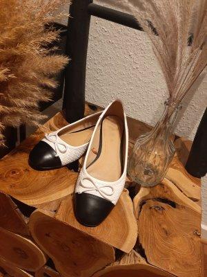 Zara Ballerinas Schachbrett Muster creme schwarz