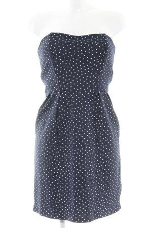 Zara Bandeaukleid weiß-dunkelblau Punktemuster Casual-Look