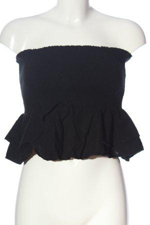Zara Top z dekoltem typu bandeau czarny W stylu casual