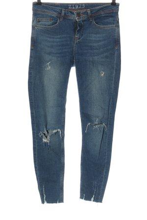 Zara Basic 7/8 Jeans blau Casual-Look